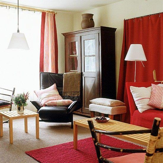 Rot und weiß Wohnzimmer Wohnideen Living Ideas Interiors - wohnzimmer orange rot