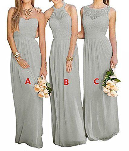 Gmar Women S Chiffon Bridesmbid Dresses Sleeveless Long Prom Evening Gowns Grey C Size 14