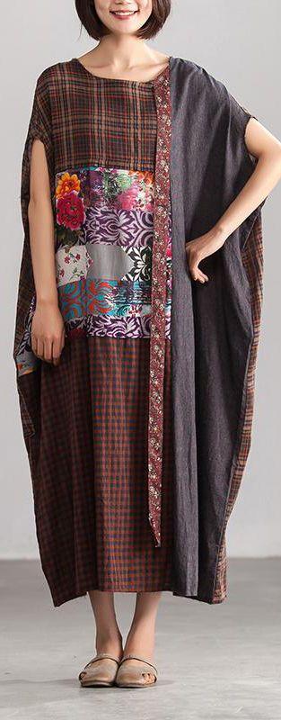 78e3438dac99 fashion-linen-summer-dress-plus-size-Linen-Loose-Baggy-Plaid-Brown-Summer- Dress-Women