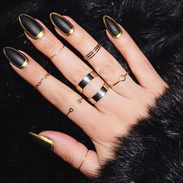 Glamorous Black and Gold Nail Designs - Glamorous Black And Gold Nail Designs Gold Nail, Black Gold