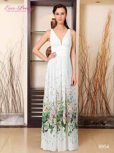 Vestido de fiesta color blanco con estampado | vestidos de fiesta ...