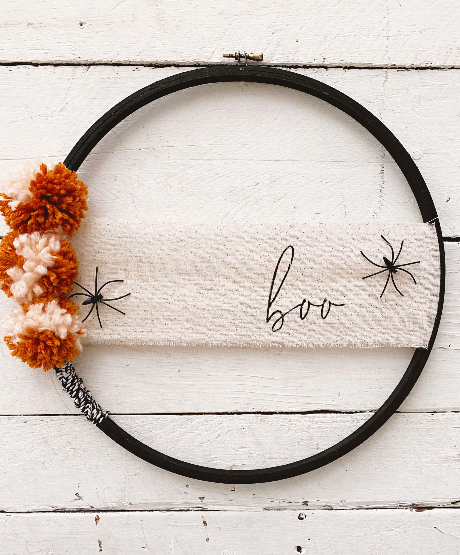 Halloween Hoop 2020 Modern Halloween Hoop Wreath// Boo Wreath// Fall Wreath// | Etsy