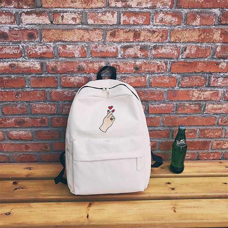 d5ae5ef06b Menghuo Men Heart Canvas Backpack Women School Bag Backpack Rose Embroidery  Backpacks for Teenagers Women s Travel