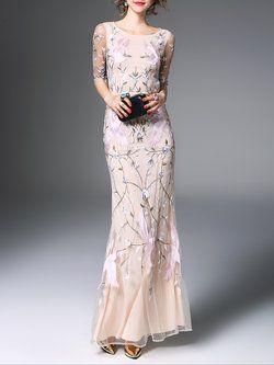 bbb3804775 Floral Evening Mesh 3 4 Sleeve Maxi Dress