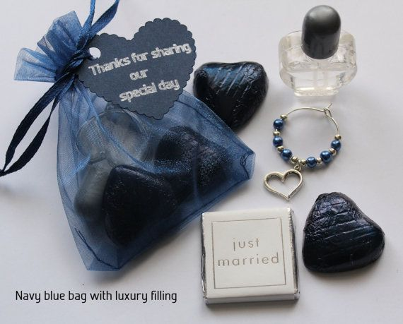 Navy Blue Wedding Favour Bags With A Selection Of Fillings Heart Erfly Flower Or Lovebird Theme