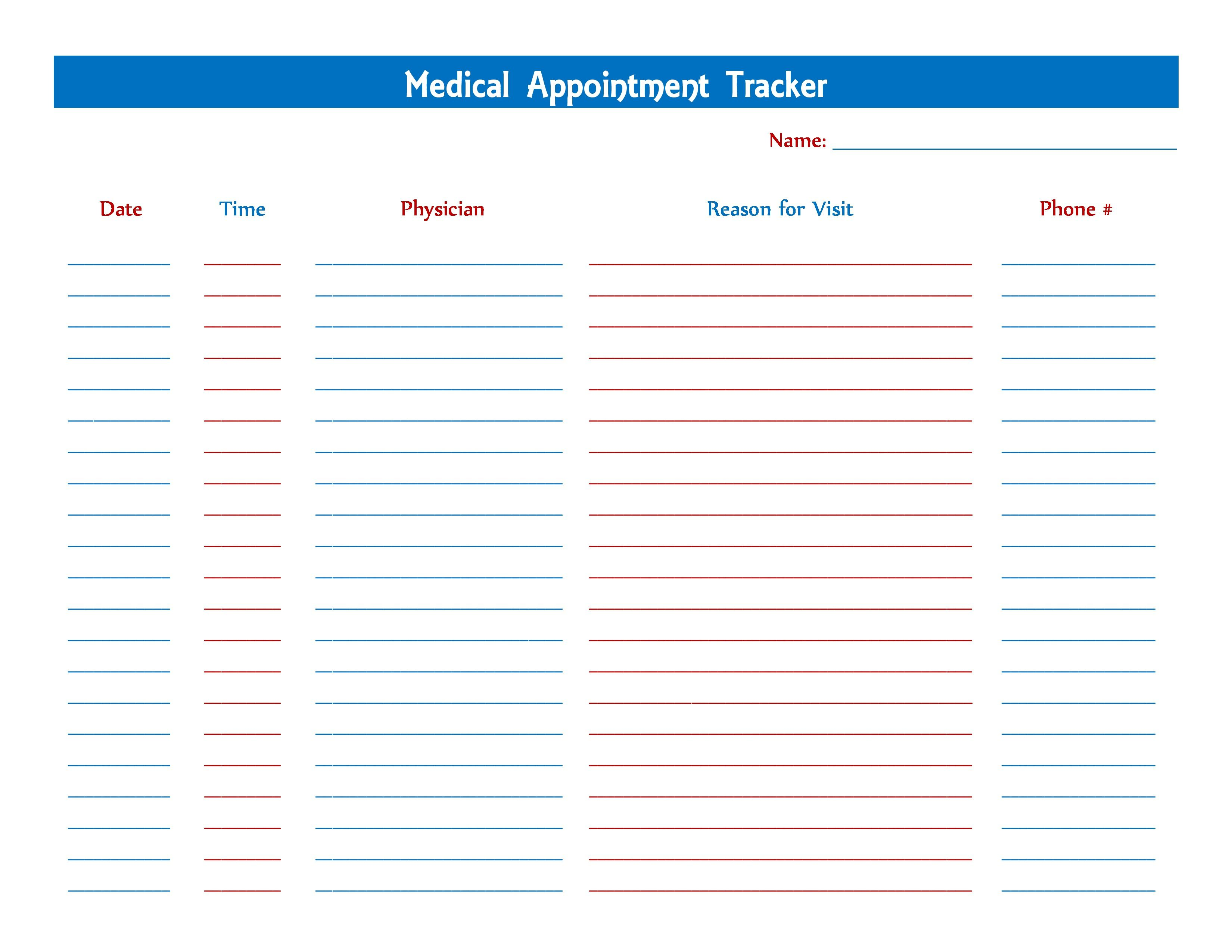 Medical Appointment Tracker Card Templates Free Business Card