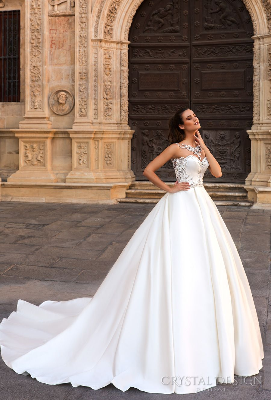 b759816f4 crystal design 2017 bridal sleeveless jewel sweetheart neckline heavily  embellished bodice beaded simple ball gown a line wedding dress open back  royal ...