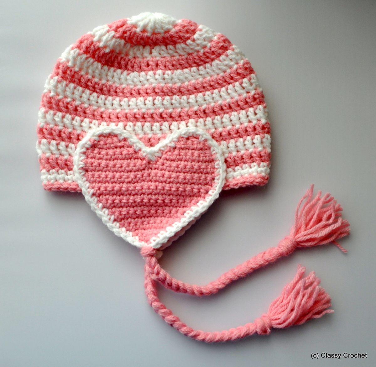 Free Pattern: Crochet Valentine Heart Earflap Hat | Gorros, Con ...