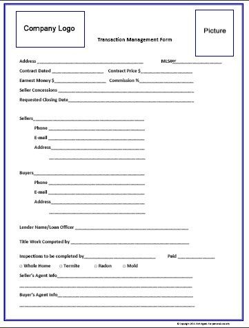 Transaction Management Form - Blue by RichAgent on Etsy Sell That