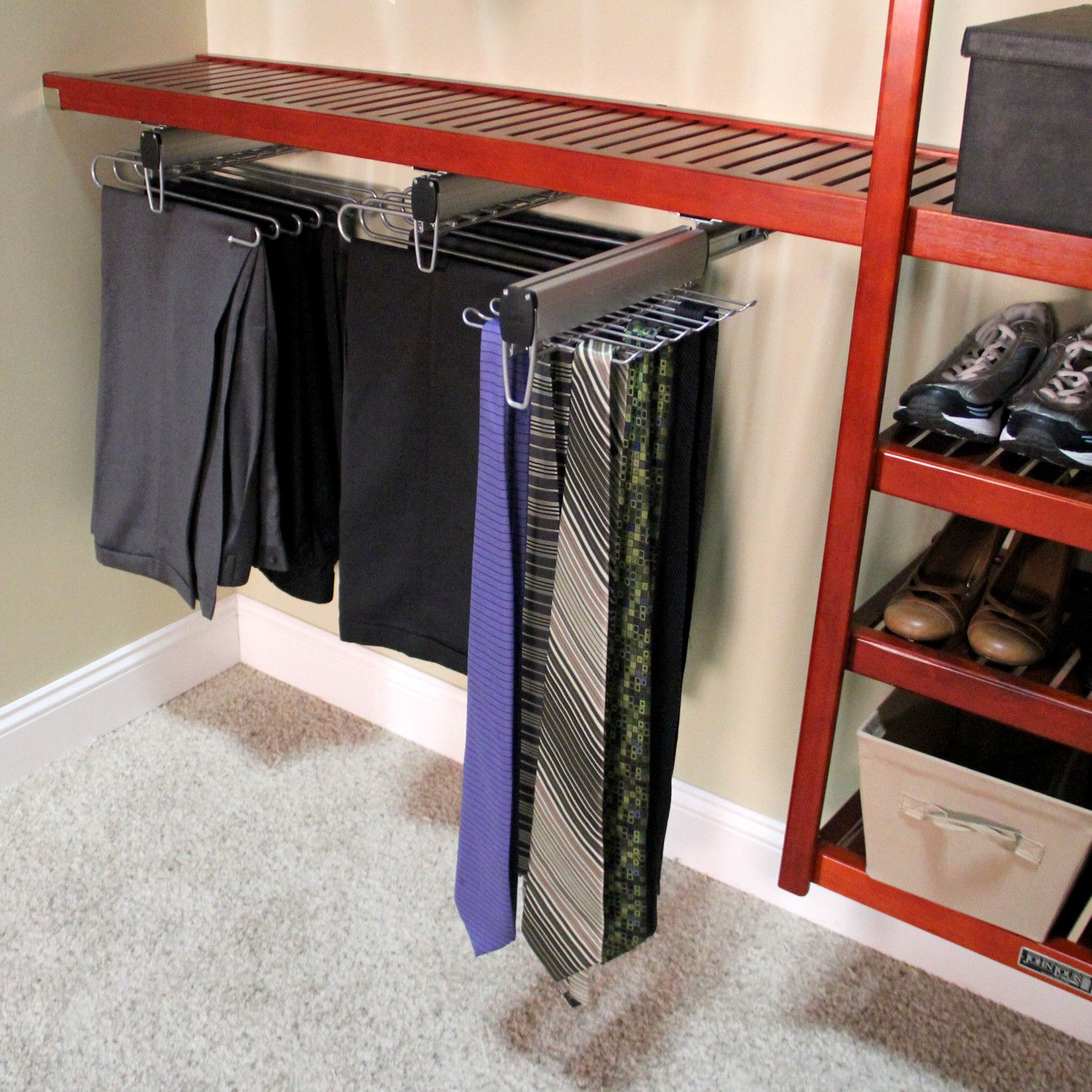 Best Tie Racks For Closets: Features: -Mounted Underneath Shelf. -Full Extension Ball