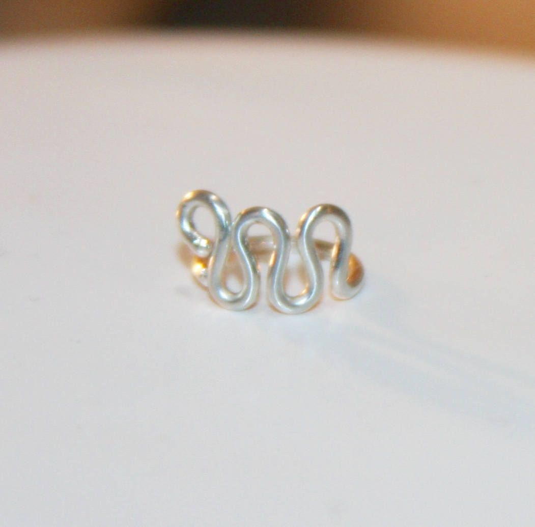 Without piercing nose ring  Small Waves Sterling Silver k Gold Filled Cartilage Earrings