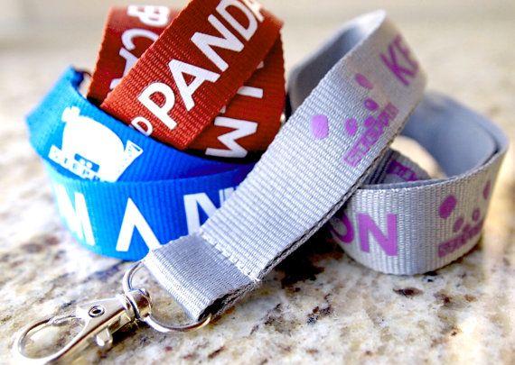 Steppie / Keep Calm and Panda On Lanyard (Maroon / White). $7.50, via Etsy.