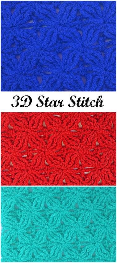 3 D Star Stitch | Tejidos | Pinterest | Puntadas y Tejido