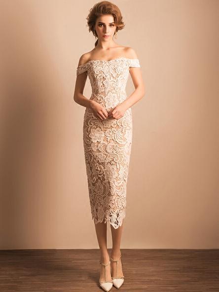 0fd5fff698 Elegant Mid Length Sheath Formal Dresses Off the Shoulder Cocktail Dress