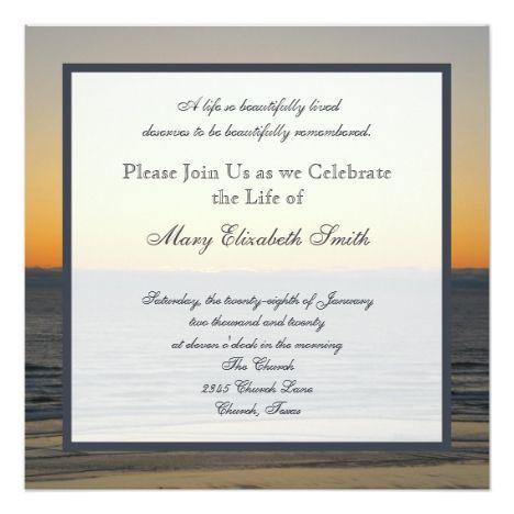 Celebration of Life Invitation Zazzle in 2019 Funerals