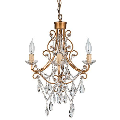 Amalfi decor madeleine gold crystal chandelier mini plug in glass pendant 4 light swag ceiling lighting fixture amazon com