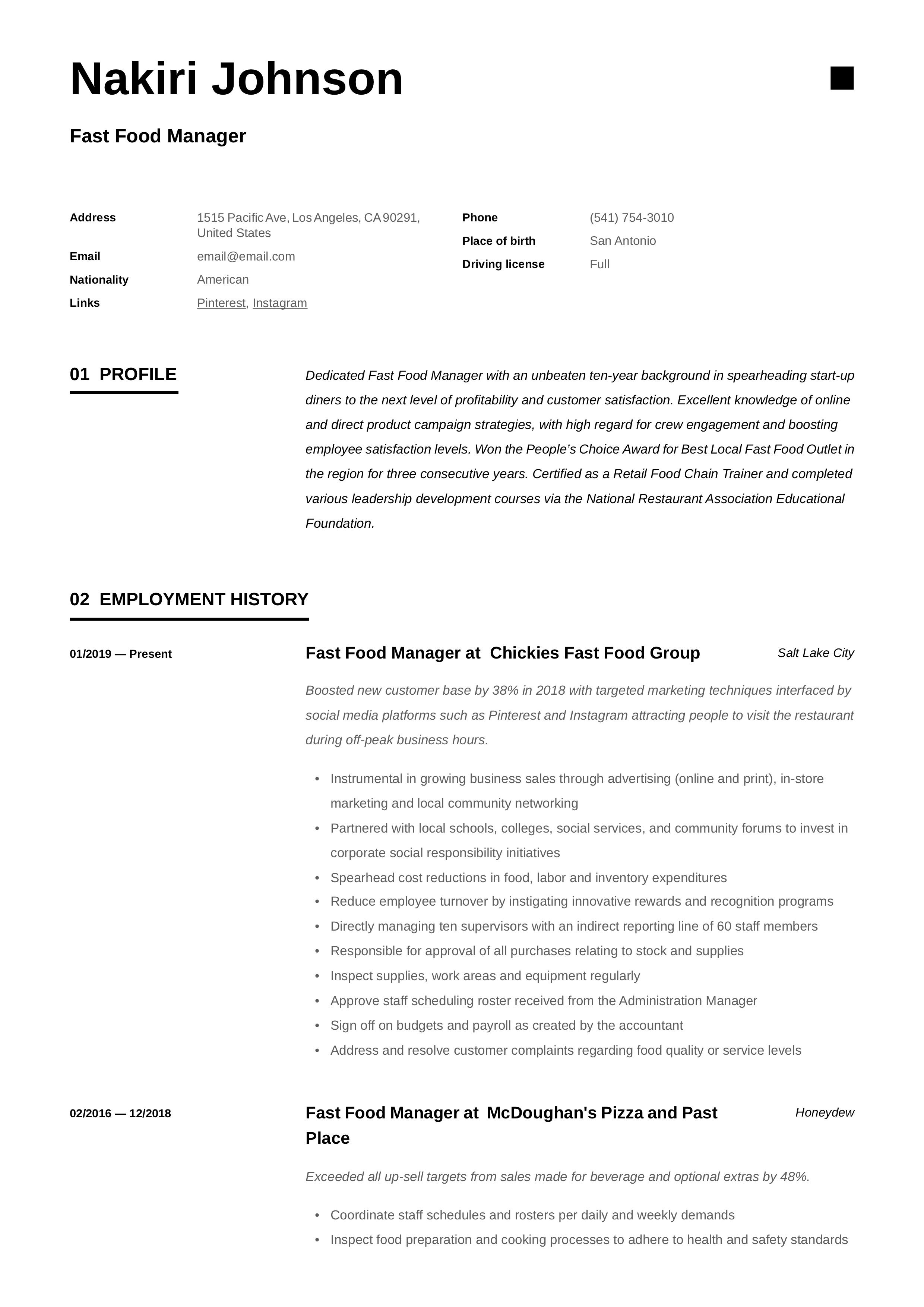 Fast food manager resume writing guide in 2020 with