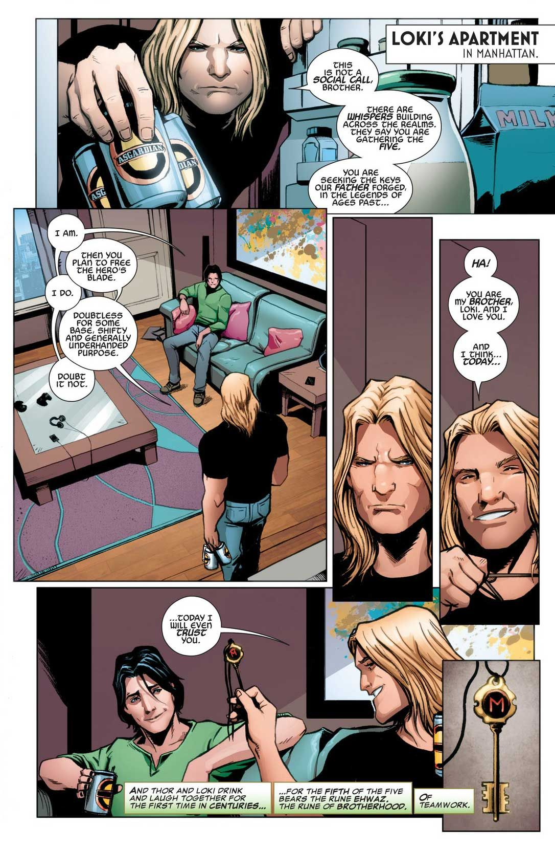 1) Awww.  :'^D  Thor feels like he has his brother back!  T_T  2) Thor, you're not trusting who you think you're trusting.  3) Thor, I am so proud of you for loving--even adoring--Loki for who he is.  4) Thor, you're not adoring who you think you're adoring.  5) Omfg, too many things to say about this one panel.  Do you think Kid Loki would be jealous of this bonding moment between the two?