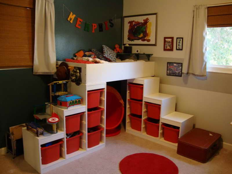 red ikea childrens storage units - cubes meet bed | kids storage