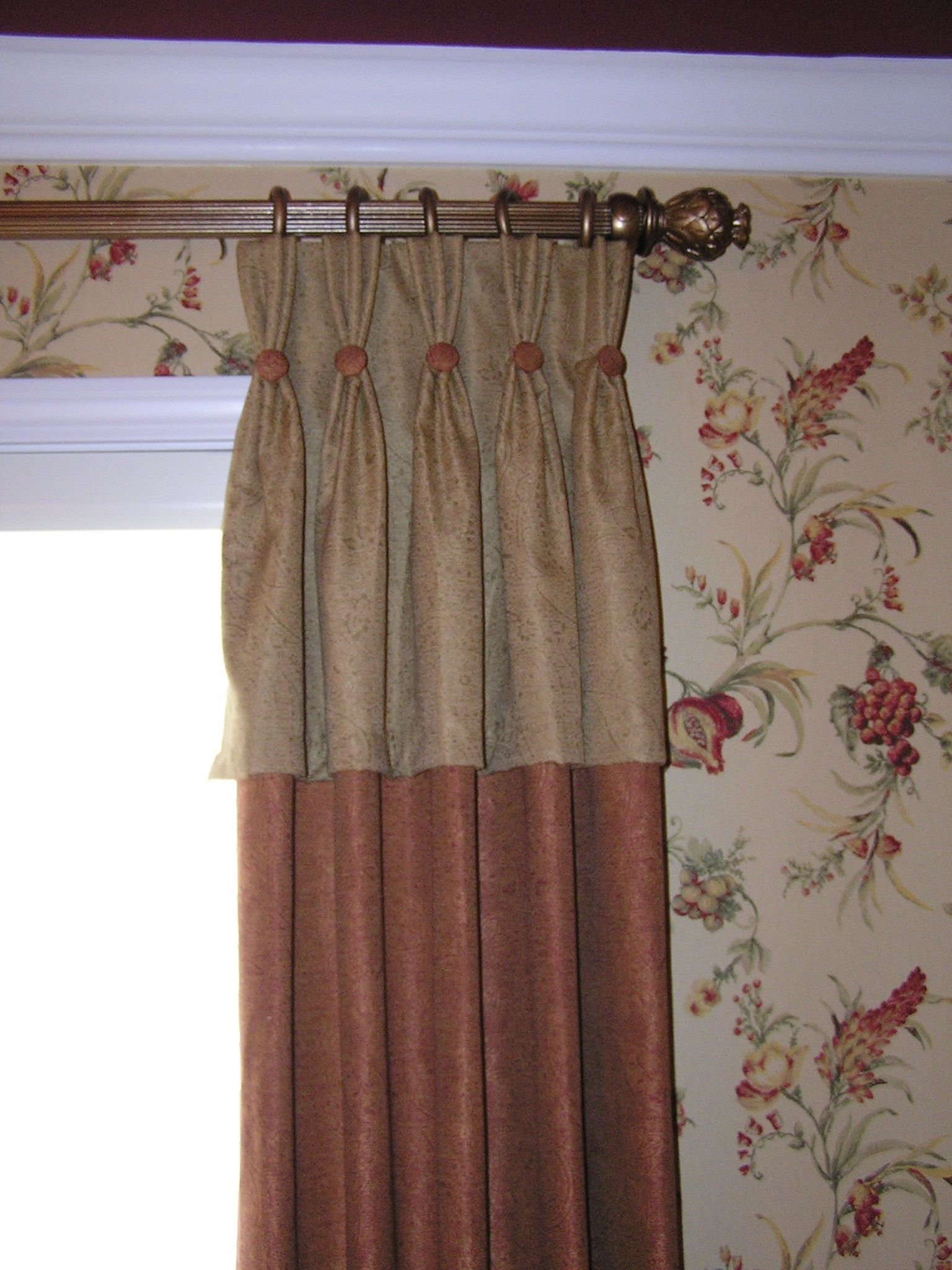 Custom drapery panel with attached valance and button detail