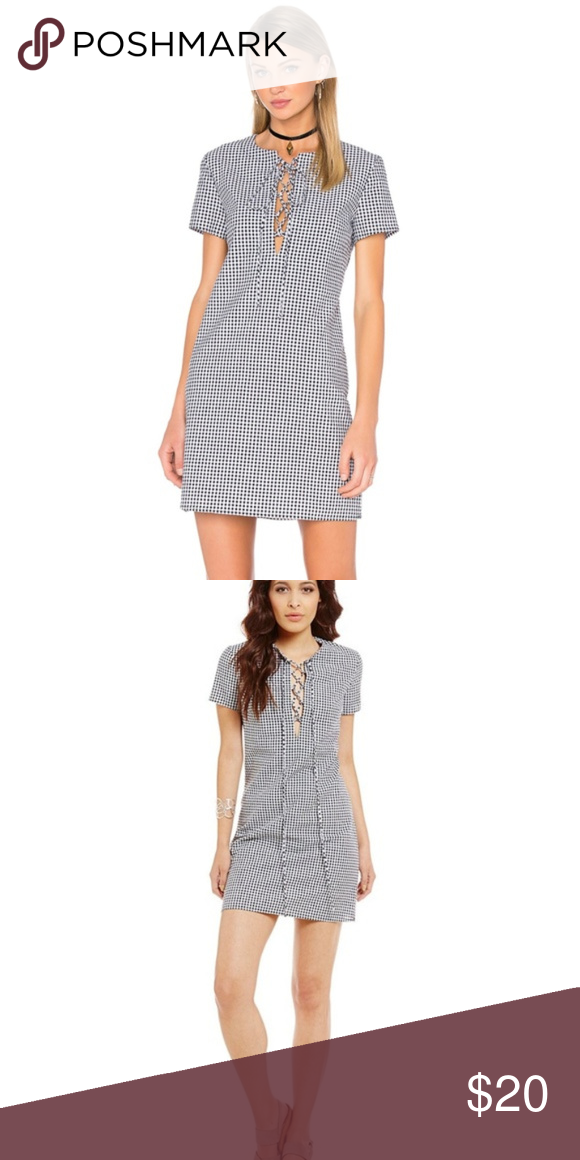 Wayf Lace Up Shift Dress Black And White Gingham So Cute And