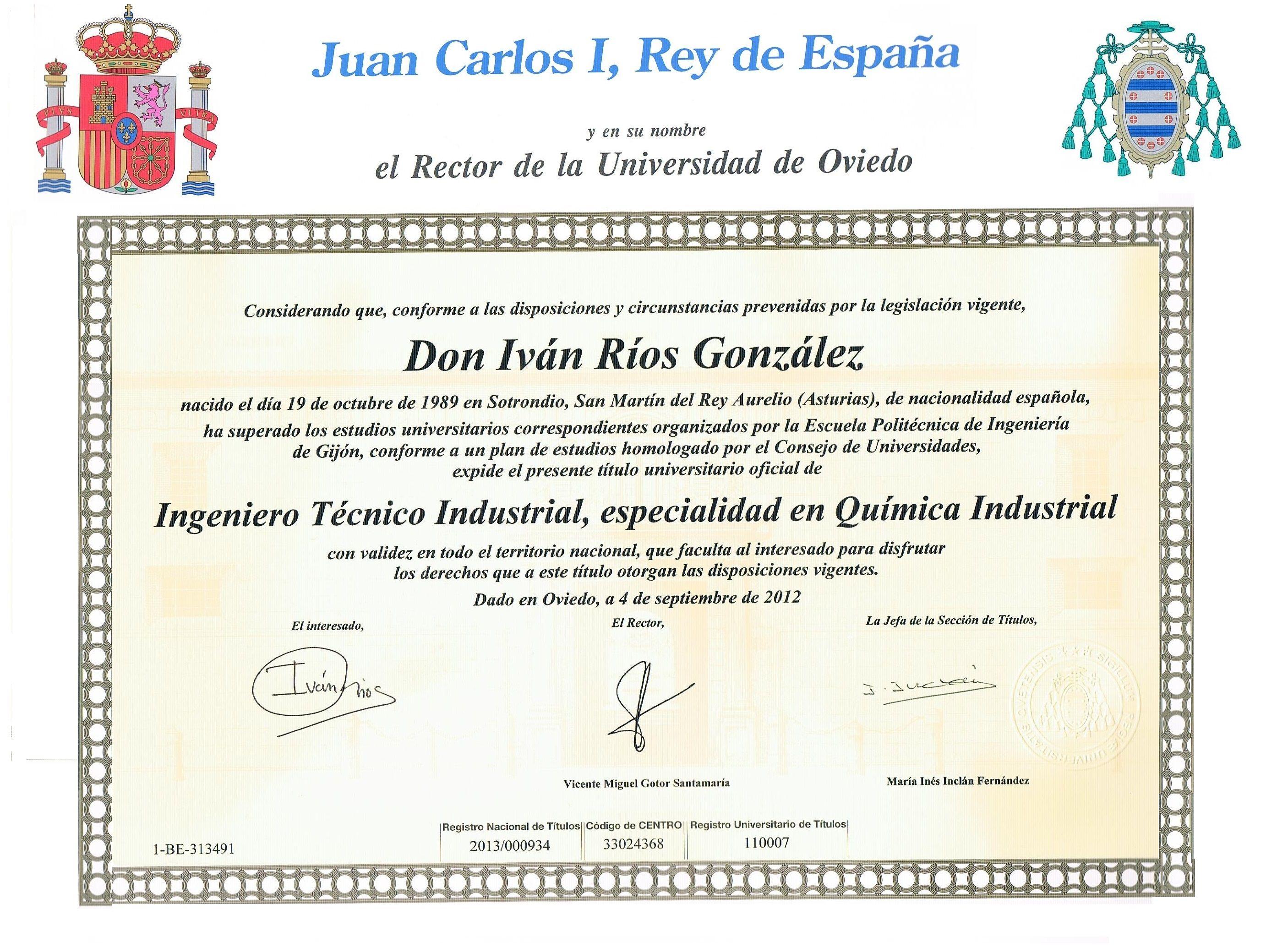 Título Oficial de Ingenieria Técnica Industrial. esp. Química ...