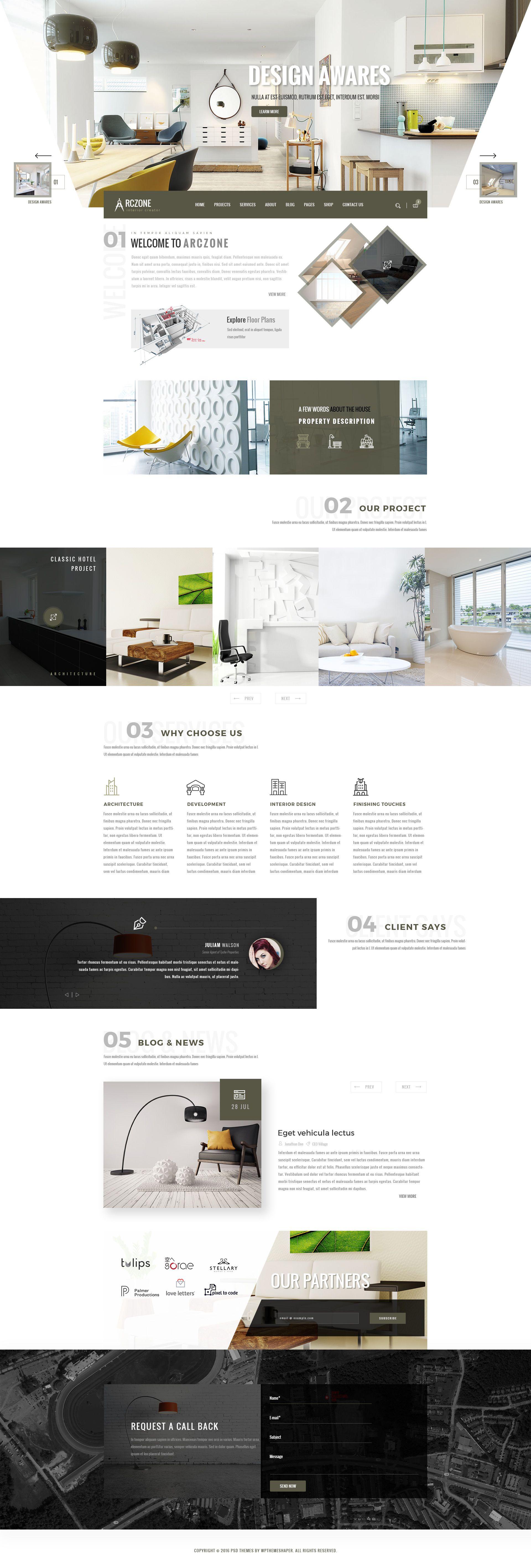 ARCZONE  Interior Design, Decor, Architecture Business Template. U2022 Download  ➝u2026