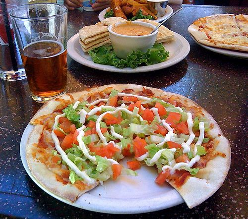BLT Pizza + Raj IPA by charliethebeerguy, via Flickr