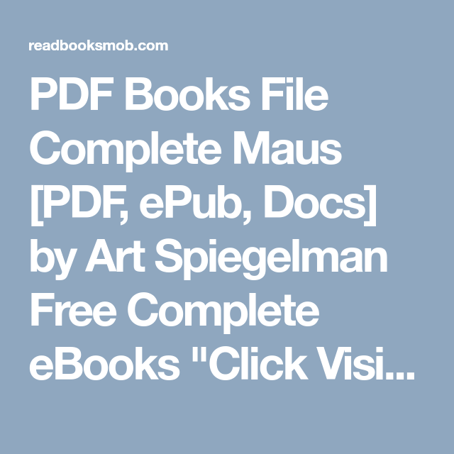 Complete Maus Pdf
