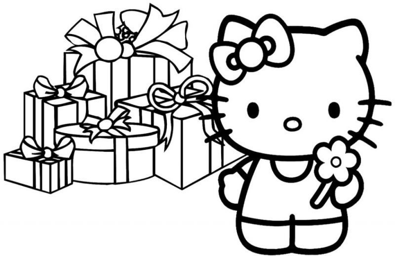 Gambar Mewarnai Hello Kitty Pony Christmas Coloring Pages Merry