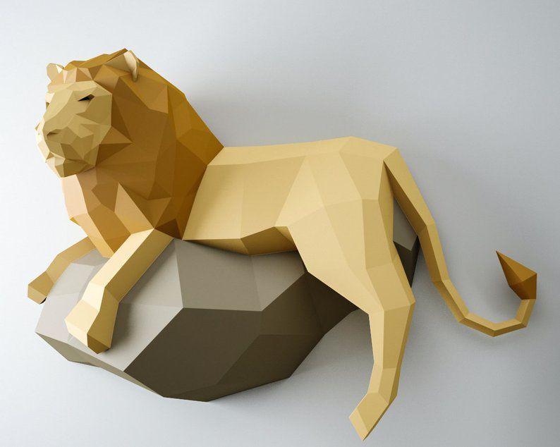 Papercraft Löwe, 3DPapierModell, PDFPapier Handwerk