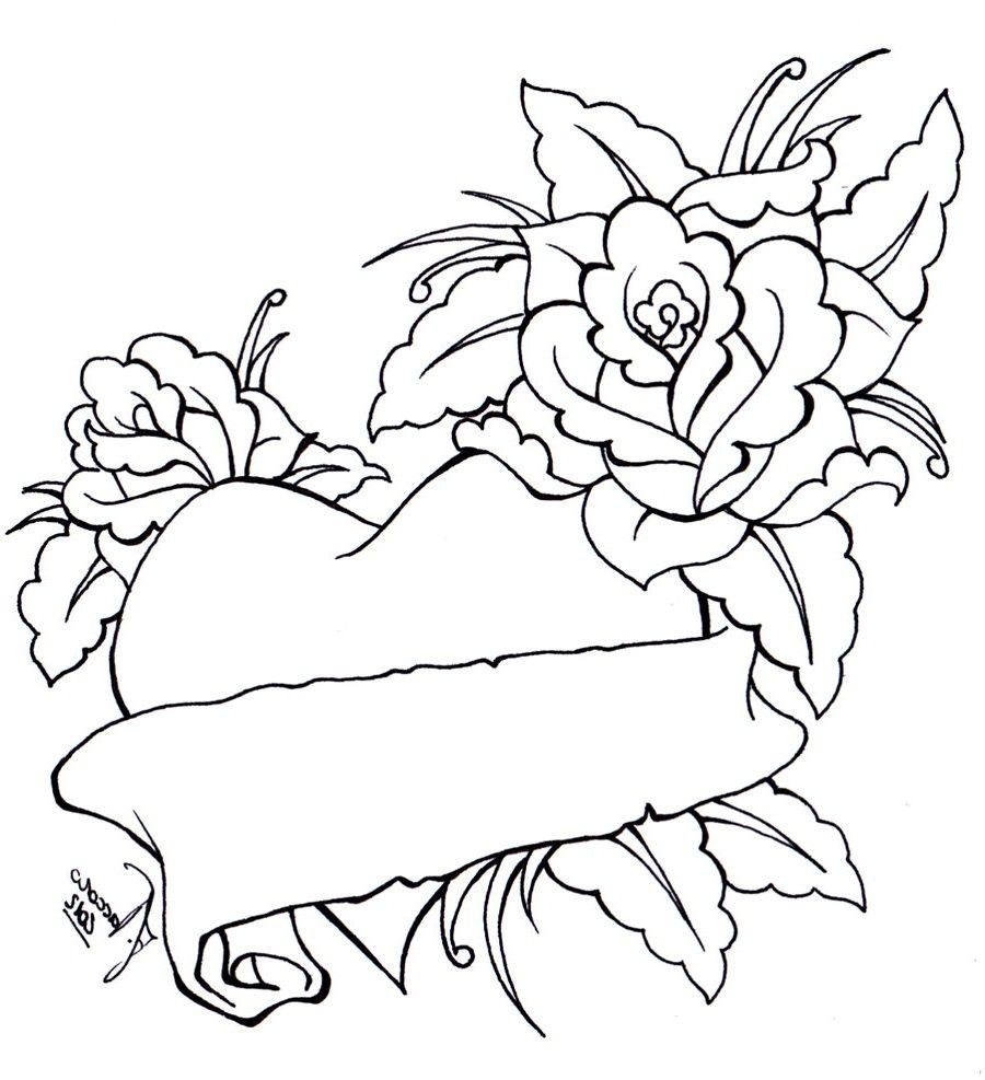 heart bow coloring pages coloring pages of roses and hearts - Coloring Pages Hearts Roses