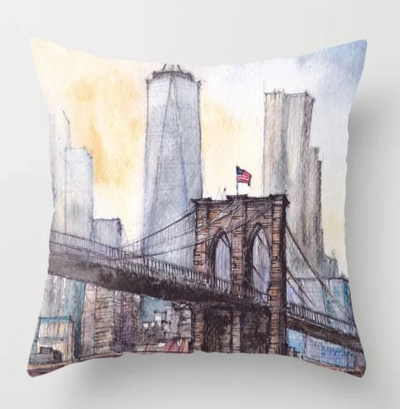 #ny #newyork #usa #illustration #ink #watercolor #art #sketch #urban #architecture #colorful #multicolor #aerialview #buildings #tourism #tourist #brooklyn #bridge #sale #gift #idea #s6 #society6 #printondemand #shopping #giftidea #handdrawn #drawing #painting #homedecor #decoration #artist #architect #fineart #turquoise #blue #sky #positiveart #positive #vacation #oneworldtradecenter #skyscrapers #water #pillow #cushion #living #room #decor #home #decoration #sofa #bed