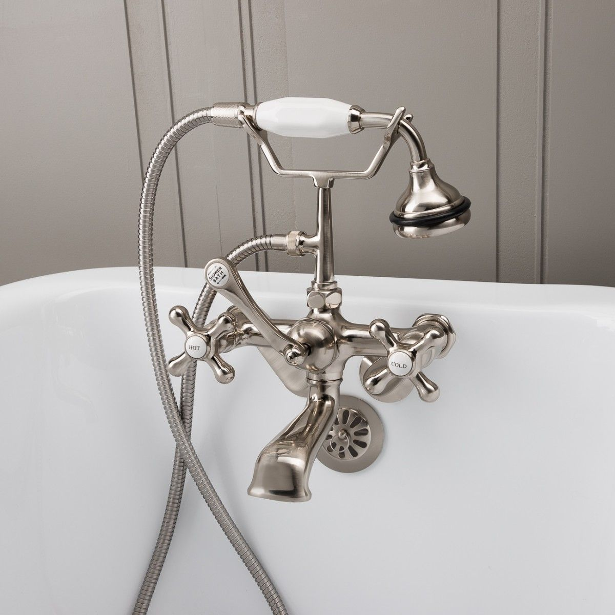 Low Spout British Telephone Clawfoot Faucet With Handshower