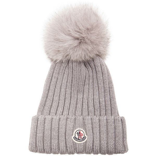 MONCLER Fur Pom Ribbed Beanie (1,405 SAR) ❤ liked on