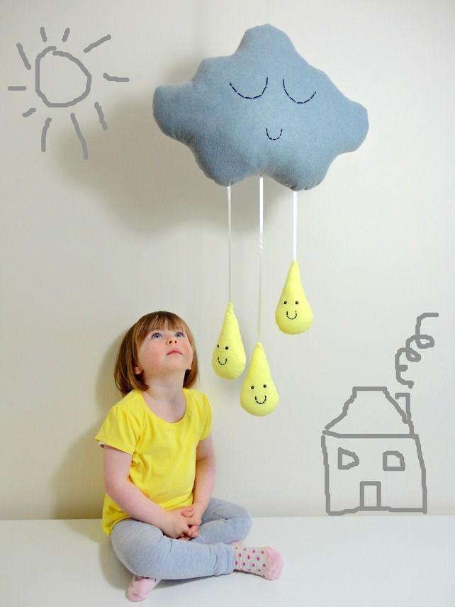 CLOUD & RAINDROPS MOBILE Grey Rain Cloud with Lemon Yellow Raindrops, by Claire On Cloud 9 via Folksy, £30.00