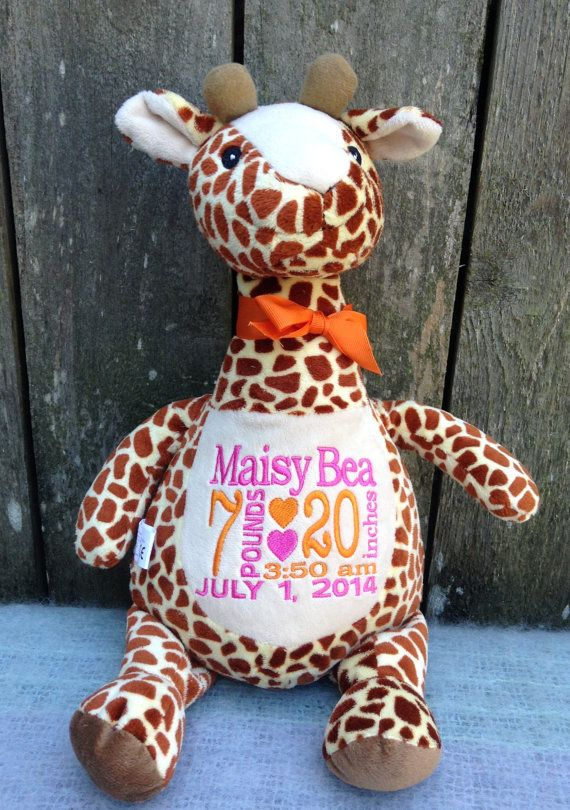 Personalized baby gift monogrammed giraffe birth announcement personalized baby gift monogrammed giraffe birth announcement personalized by world class embroidery photo prop zoo animal wildlife negle Gallery