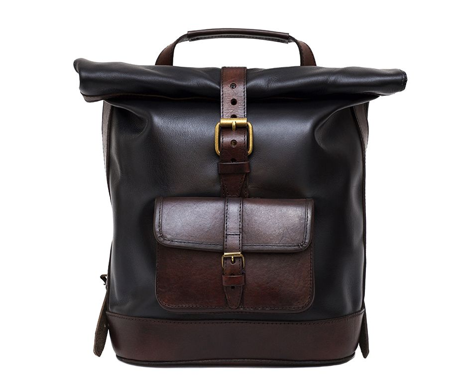 Large Black Roll Top Leather Backpack by Beara Beara | 肩膀解放 ...