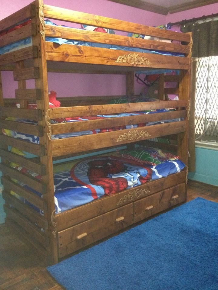Free Shipping Triple Bunk Bed With 2 Huge Storage Drawers Built