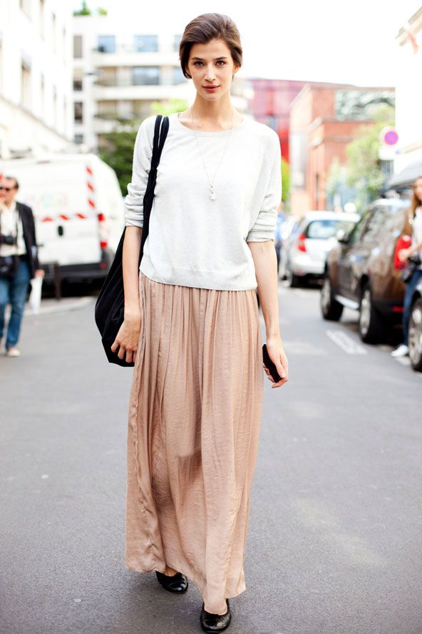 48fc3f772 Beautiful color combo: Nude/Peach Maxi + White | Fashion | Fashion ...