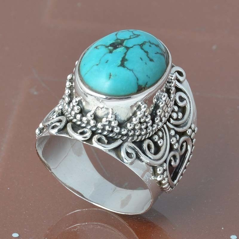 925 SOLID STERLING SILVER TURQUOISE RING 9.91g DJR6831 #Handmade #Ring