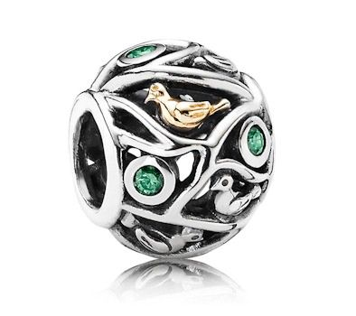 caf6654ad Pandora Silver & 14ct Gold Birds & Branches Charm 791213CZN at John Greed  Jewellery