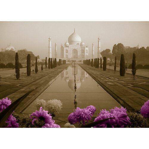 East Urban Home Glasbild Around the World Taj Mahal, Grafikdruck in Flieder | Wayfair.de