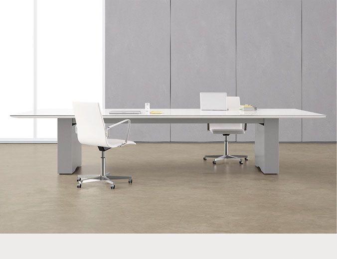 Flow With Glass Top And Rectangle Base Modern Office Desk Home Office Design Modern Office Furniture Design