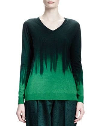 Long-Sleeve V-Neck Dip-Dye Sweater by Stella McCartney at Neiman Marcus.