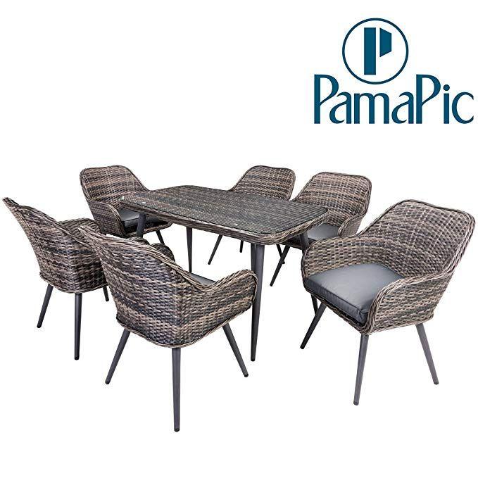 Pamapic 7 PCS Patio Dining Set, Outdoor Rattan Furniture set, Wicker