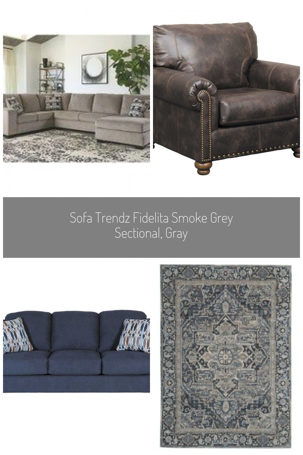 Sofa Trendz Fidelita Smoke Grey Sectional Gray Hering