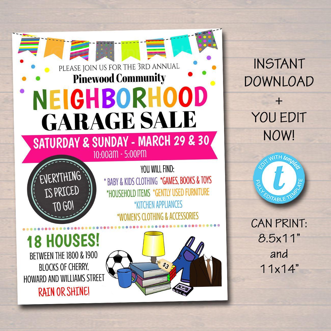 Editable Garage Sale Flyer Printable Pta Pto Flyer School Etsy In 2021 Garage Sales Sale Flyer Pta Organization Church yard sale flyer template