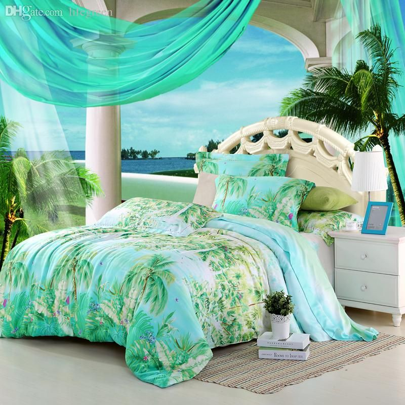 Wholesale Blue Green Turquoise Bedding Sets Queen King Size Palm Tree Silk Quilt Duvet Cover