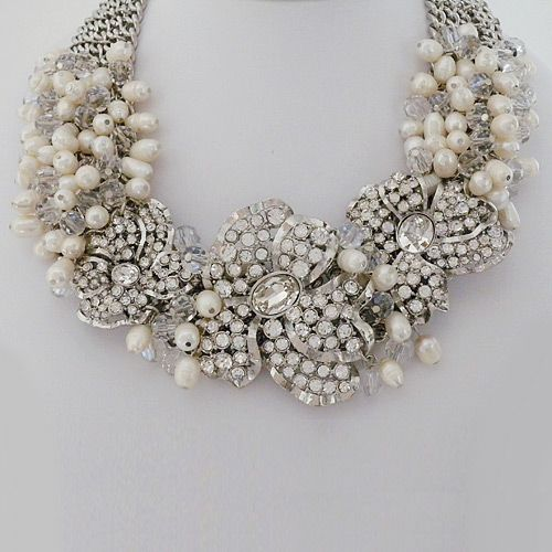 badgley mischka bridal jewelry pearl crystal wedding statement necklace